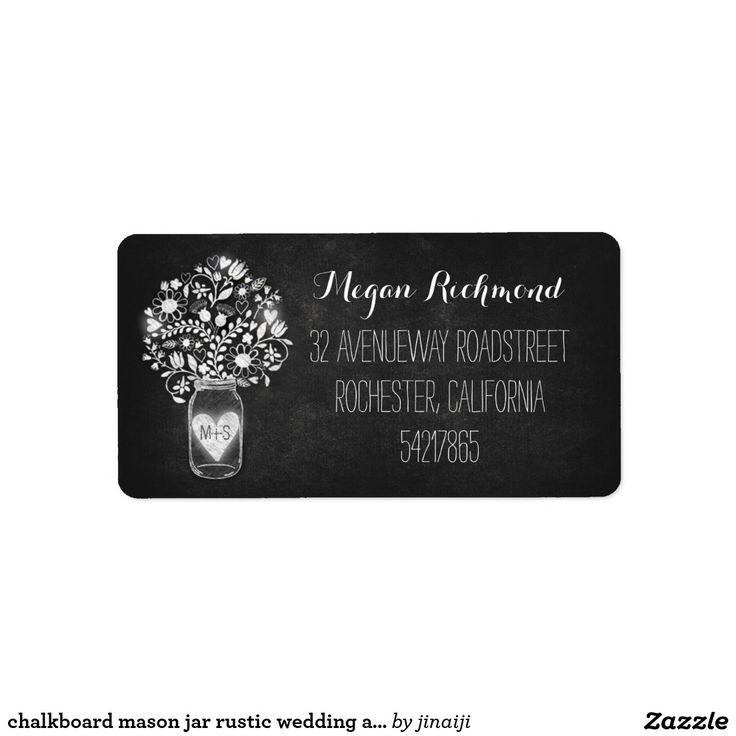 wedding stickers for invitations%0A Chalkboard mason jar rustic wedding address labels