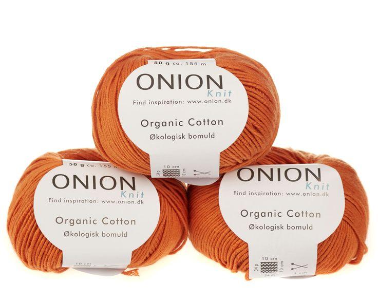 Orange økologisk bomuldsgarn fra Onion - 35 kr. per 50 gram