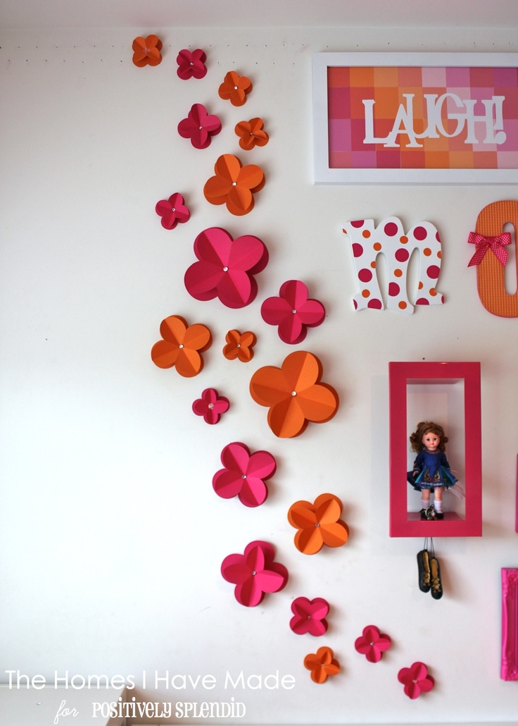 Positively Splendid {Crafts, Sewing, Recipes and Home Decor}: 3D Paper Wall Flowers