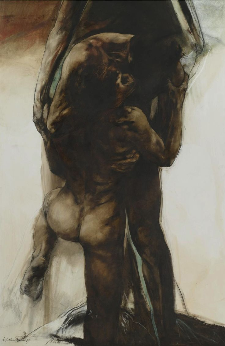 Luis Caballero (Colombian, 1943-1995), Desnudos, 1983. Oil, charcoal and pastel…