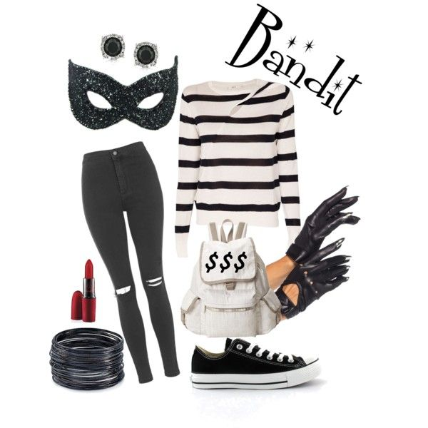 Bank Robber Halloween Costume by jessica-humbert on Polyvore featuring polyvore, fashion, style, A.L.C., Topshop, Masquerade, Converse, LeSportsac, ABS by Allen Schwartz, Mark Broumand, MAC Cosmetics, DIY, Halloween, halloweencostume, bandit and bankrobbert
