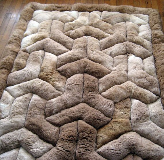 New 43 x 60 Brown Alpaca Rug.Y Design. Soft peruvian by incatrade