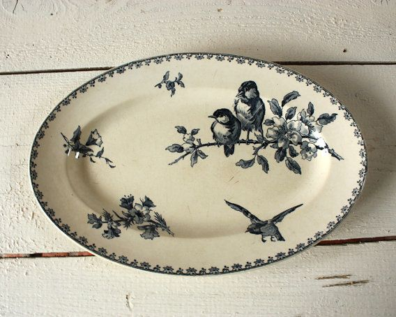 beautiful transfer-ware: Murmuring Cottage, Sweet, Vintage, Sarreguemines Dish, Dishes, Birds