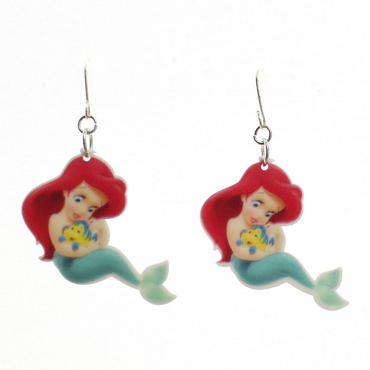 2015 New Fashion Girls Kids Gift Jewelry Cute Little Mermaid Dangle Earring For Girl Lady Kids Gift Free Shipping KE08