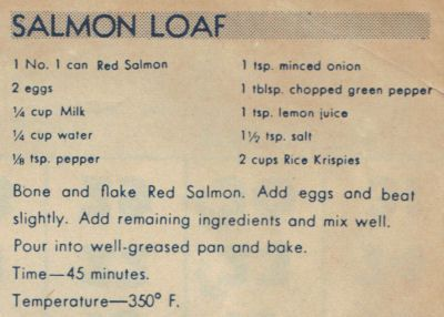 Vintage Salmon Loaf Recipe