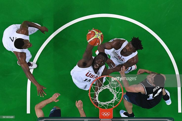 DeAndre Jordan #6 of United States grabs a rebound against Argentina during the…