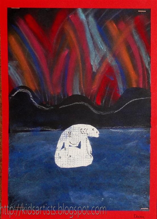 Kids Artists: Northern lights - use chalk pastels and white wallpaper with texture for polar bear.