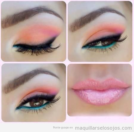 Maquillaje de ojos primavera, sombra coraly línea del agua turquesa