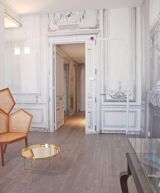 tinted chair and white shaded wall.: Paris, Home, Maison Champs, Champs Elyse, Interiors, House Hotels, Margiela Hotels, Lounges Suits, Maison Martin Margiela