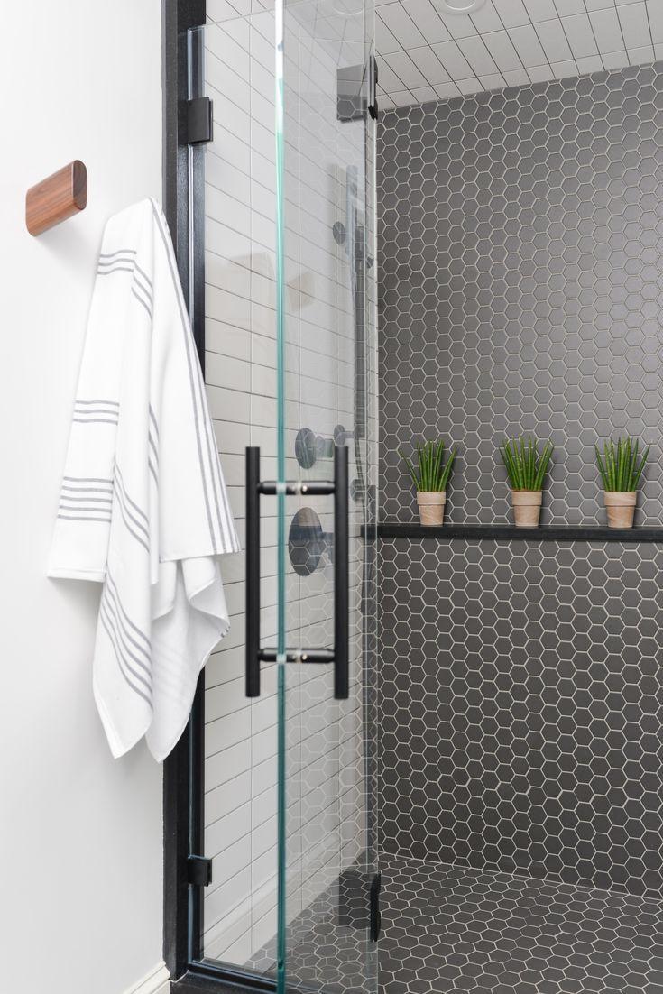 Modern Black And White Bathroom Black Hex Tile White Stacked Elongated Subway Tile Matte Black Shower Head And Black Marble Bathroom Grey Oak White Bathroom