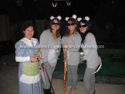 Coolest Three Blind Mice Group Costume: We got a lot of compliments on this Three Blind Mice Group costume! A lot of fun! For the pants we used grey leggings, tops were long sleeve grey shirts
