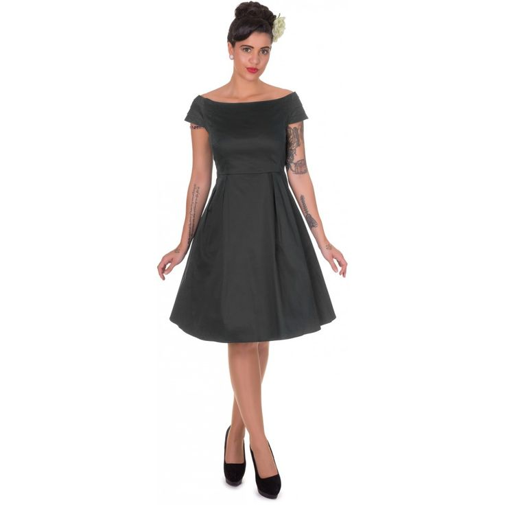 Marcia Boat Neck Rockabilly Dress in Black