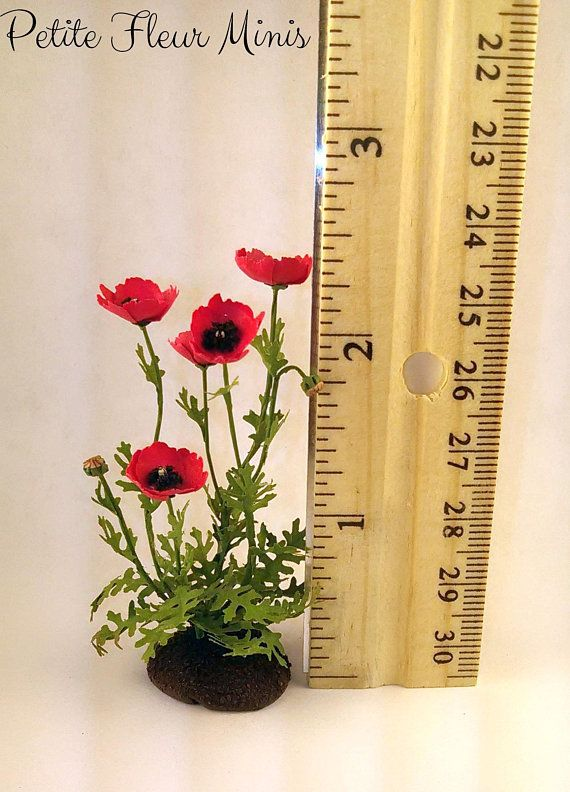 Miniature Dollhouse Poppies Yellow Poppy Flowers 1:12 Scale New