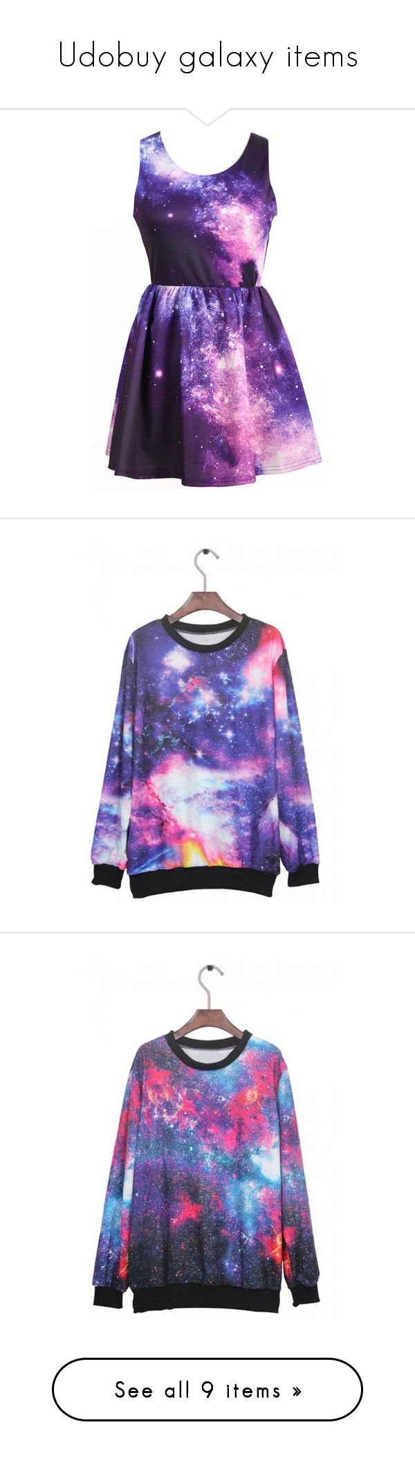 """""""Udobuy galaxy items"""" by udobuy ❤ liked on Polyvore featuring dresses, vestidos, robe, galaxy print dress, space print dress, purple dresses, planet dresses, pink day dress, tops and hoodies"""