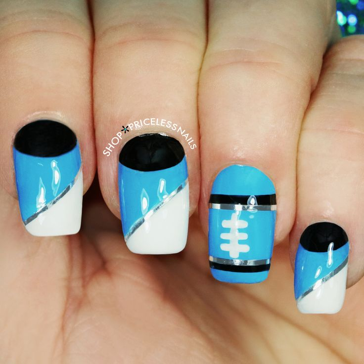 Carolina Panthers football nails ✨                                                                                                                                                     More