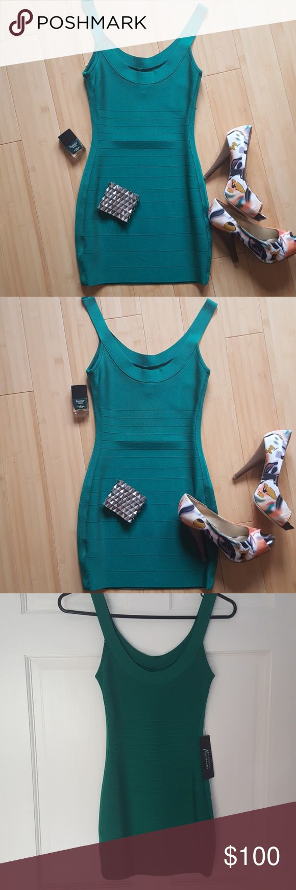Marciano Bodycon dress Hunter green bodycon dress great for a night out with the girls or even stylish enough for a date night. Pair with heels or sandals for the summer. 29 inches from top to bottom. New with tags. Reasonable offers welcome! Guess by Marciano Dresses Mini