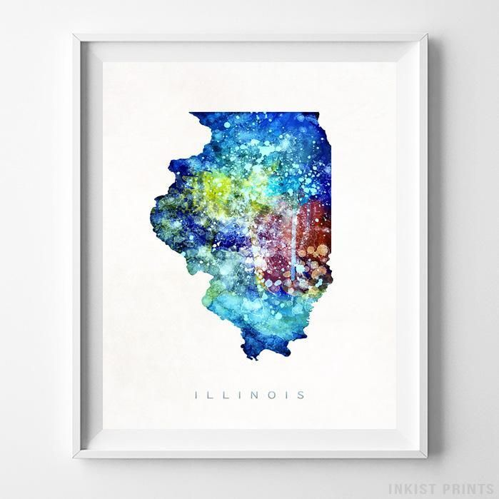 Louisiana Denmark Map%0A Illinois Watercolor Map Home Decor Art  Prices from        Available at  InkistPrints com