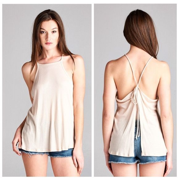 SALE ❥ Knit Tie Back Tank soft & adorable lightweight tank • label is honey punch which is a high quality label sold by many stores including urban outfitters, tobi, lulu's, nastygal & many boutiques • available in sizes (3) s, (2) m, & (1) l • material is 100% modal Honey Punch Tops Tank Tops