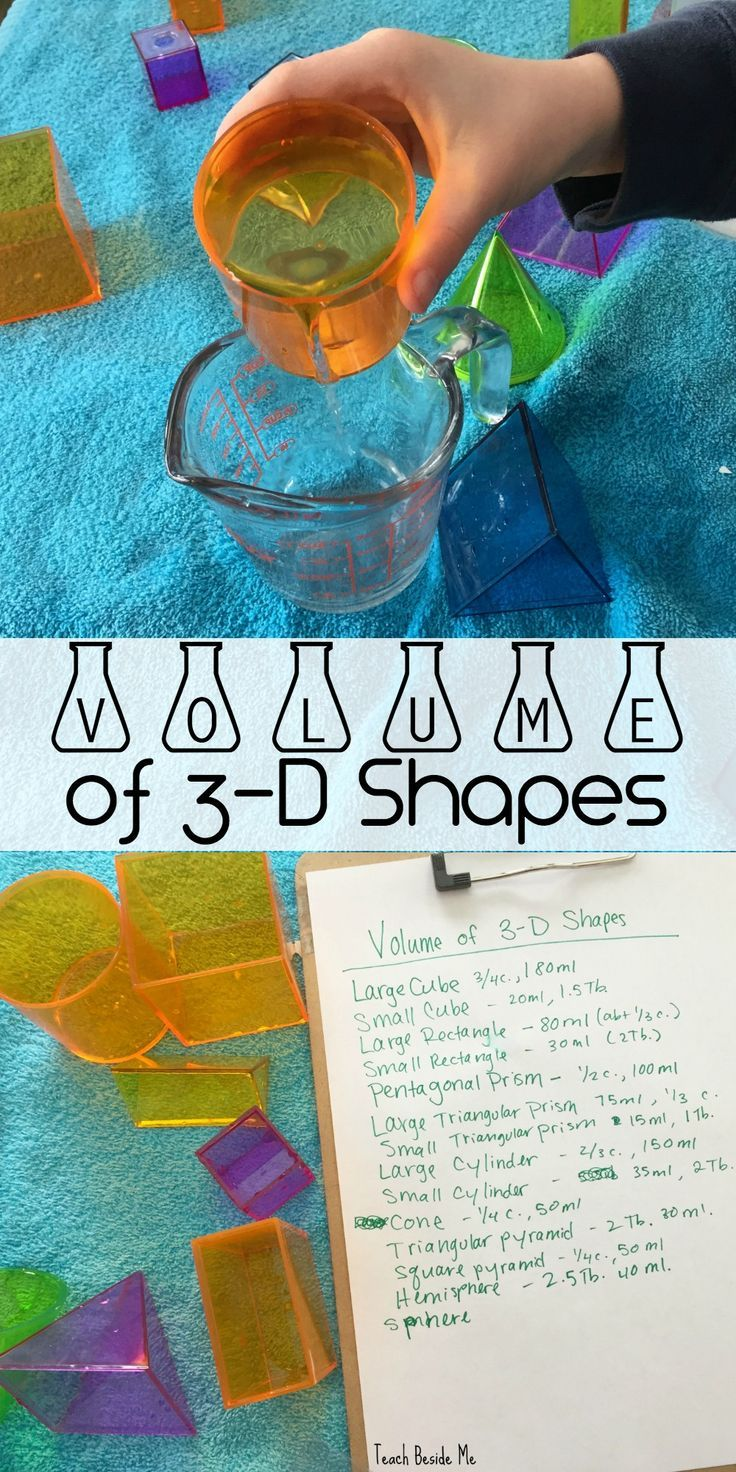 Measure the volume of 3-D Shapes with water and geometric solids. Which one holds the most water? via @karyntripp