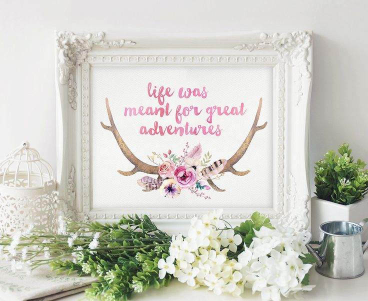 Girls Boho Wall Art - Nursery Wall Art - Printable Quote - Boho Printable Art - Girl Nursery Wall Decor - Kids Wall Art - Kids Wall Print