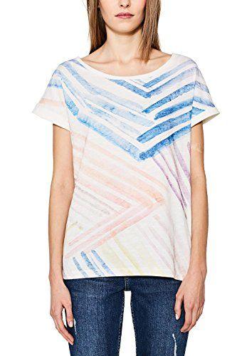 ESPRIT 057ee1k048, T-Shirt Donna, Mehrfarbig (Off White 110), 44 (Taglia Produttore: XX-Large)