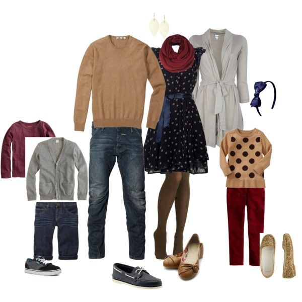 """""""What to Wear   Family"""" by archandbeau on Polyvore -- LOVE this, too. Especially the dress and the polka dotted sweater! -KBP"""
