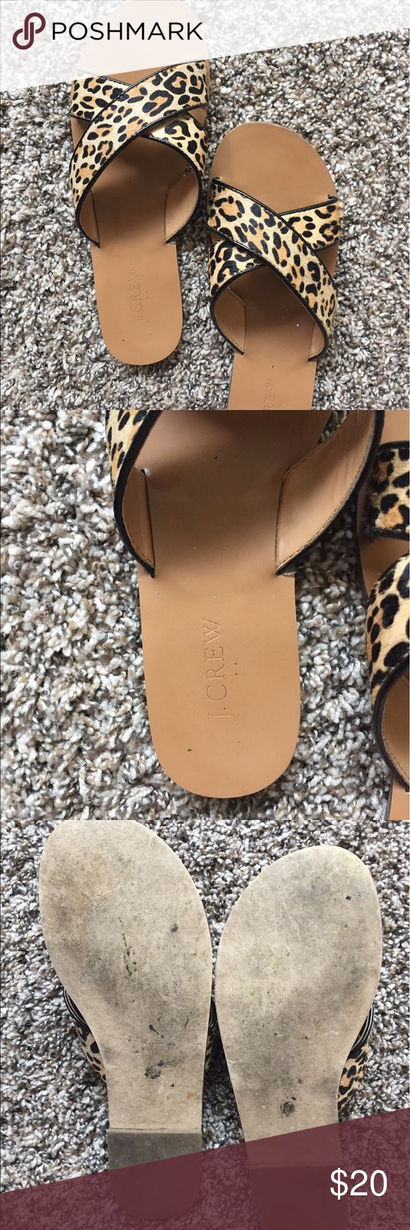 J. Crew leopard print slide sandals 8 The most adorable leopard print slides, size 8. Slight wear on the right heel, see photo, but exterior heels and back in good shape. Very comfy. Dress up or down. Summer spring or fall! J. Crew Shoes Sandals