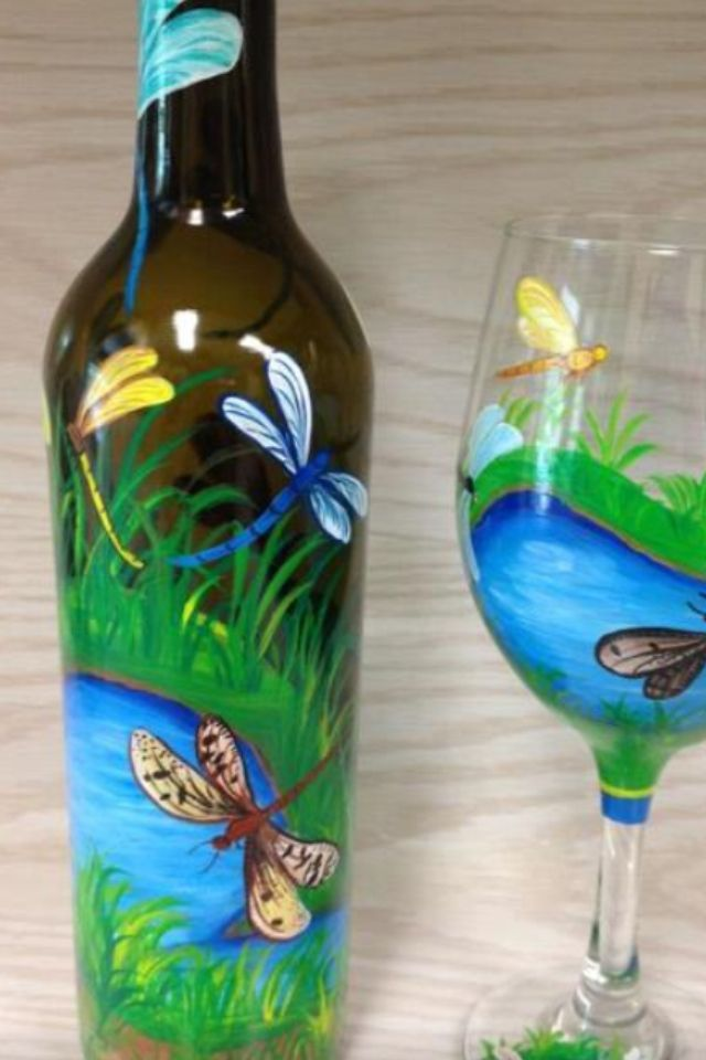 hand painted bottle and wine glass dragon flies glass