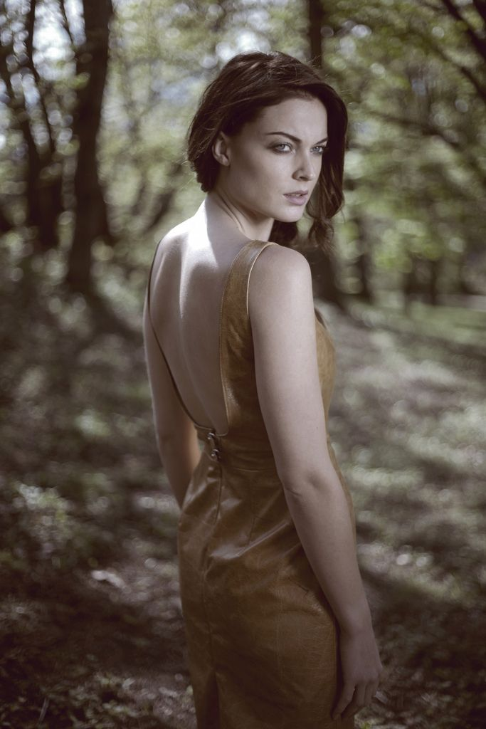 Leather Dress, Open Back Dress, Beautiful LIght, Magical Woods, Norwegian Wood, Design by Ellen Aga, Photo by Lars Venner, Model: Charlotte Thorstvedt