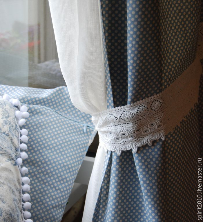 """Купить Шторы льняные в горошек """"Елизавета"""" - голубой, шторы, Пастораль, Франция, шторы для гостиной, лён"""