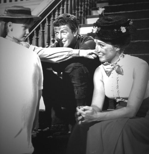 Karen Dotrice, Dick Van Dyke and Julie Andrews on the set of Mary Poppins, 1963