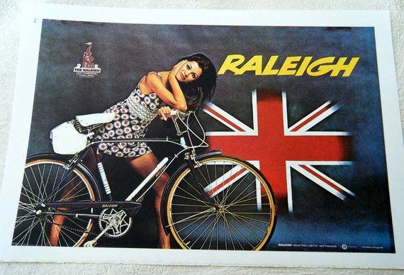 Vintage Bicycle Poster 1960s Raleigh Bicycles Nottingham England