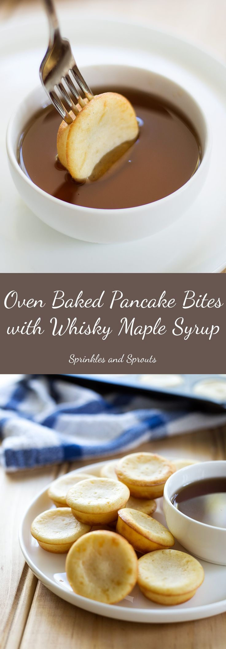 Oven Baked Pancake Bites with Whisky Maple Syrup. They look like cupcakes and taste like pancakes. The perfect treat for breakfast, easy to make, simple to bake and delicious to eat. #brunch