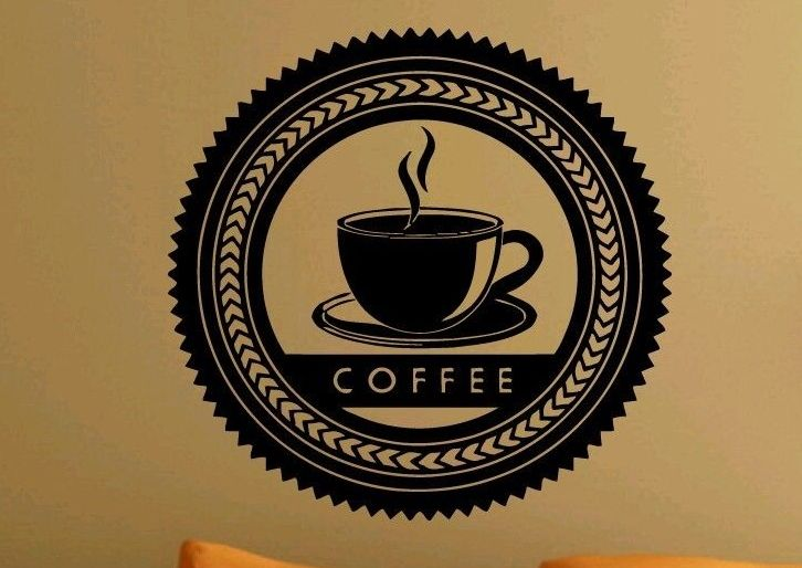 Кафе винил на стены искусство вход чашки кофе марка кофе логотип стены искусства настенной росписи кофе витрины стеклянные украшения