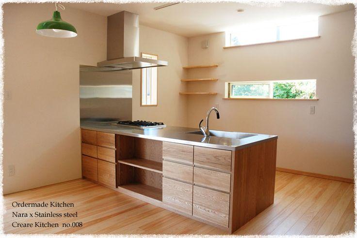 ナラの木をたくさん使った 両面収納の木のキッチン | オーダーメードキッチン製作例 | 家具工房クレアーレ
