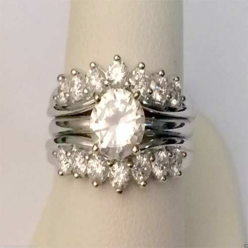 14kt White Gold Oversize 1ct 14 Round Diamonds Solitaire Enhancer Guard Wrap (1.00ctw) by RG&D