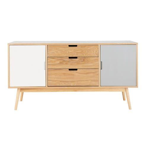 Credenza bianca e grigia vintage in legno L 145 cm