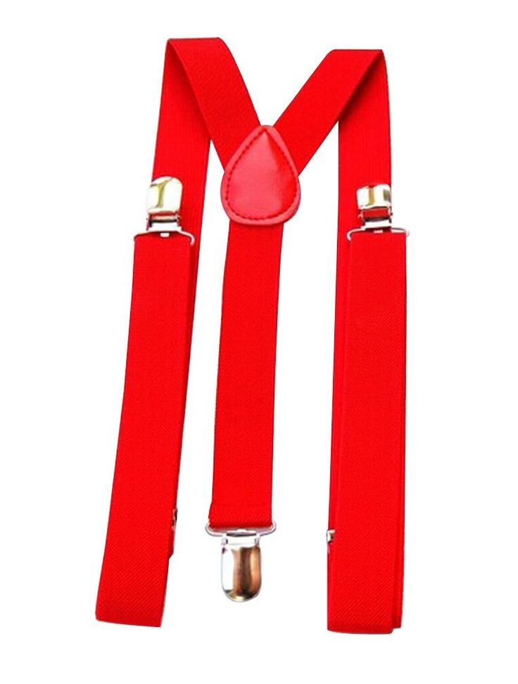 Ninimour- Mens / Womens One Size Suspenders Adjustable (red)