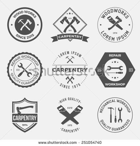 set of working tools, carpentry, workshop labels, logos, badges and design elements