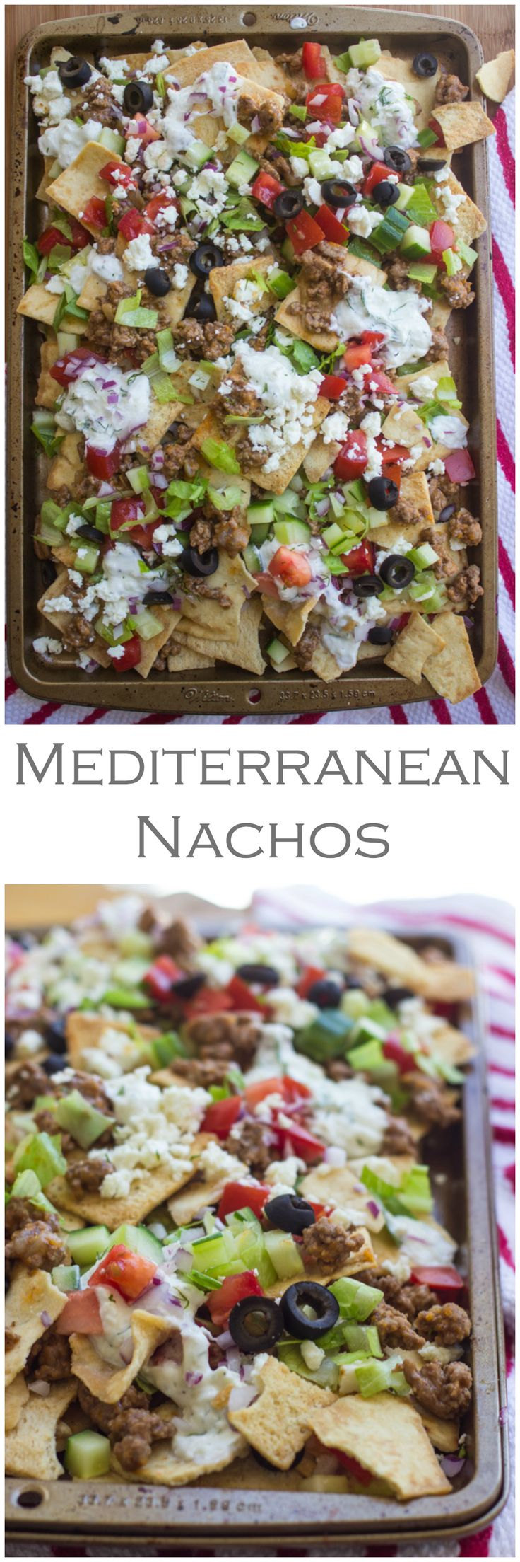 Mediterranean Nachos // layers crispy pita chips, meat, fresh veggies, feta & homemade tzatziki sauce #appetizer #movienight
