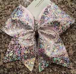 White and Silver Shatter Glass Cheer Bow