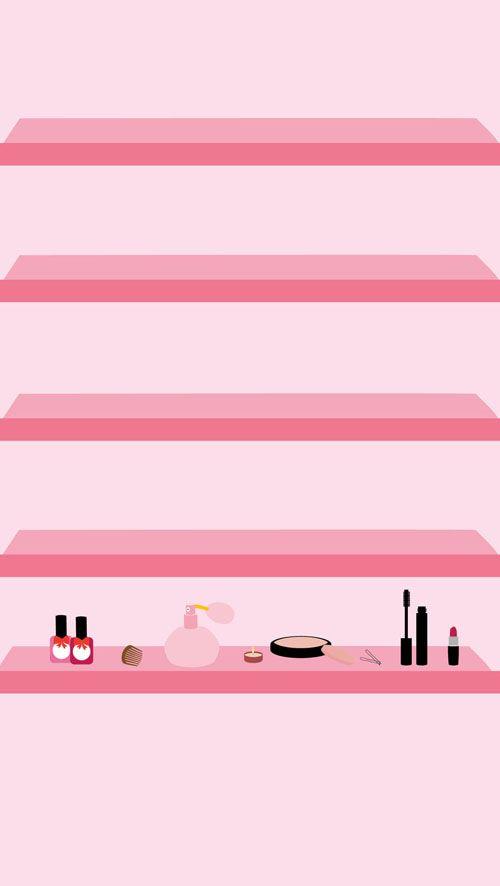 Beauty Make-Up iPhone Wallpaper Shelves