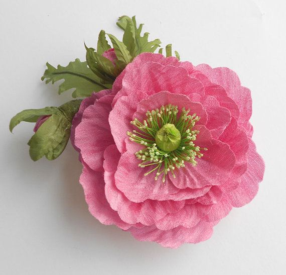 Pink+silk+flower%2C+Pink+fabric+flower+brooch%2C+Flower+for+sash%2C+Bridesmaid+hair+clip%2C+Pink+Poppy+hair+clip%2C+Mother+of+a+bride+brooch.