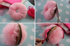 DIY pink tulle pompom decorations for party or christmas tutorial...I've made these before but not with tulle. Great idea!