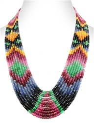 9 strand estate ruby, emerald, sapphire beads necklace at wholesale price.