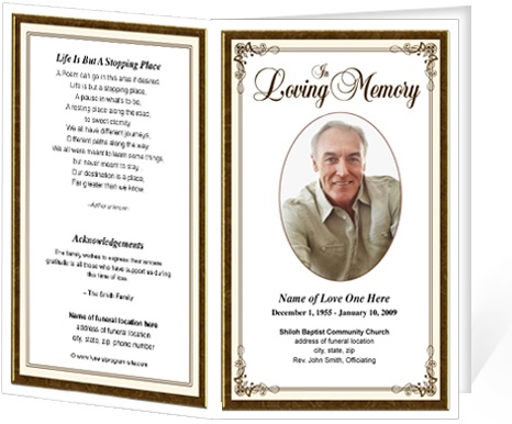 Funeral bulletins simple elegant frame funeral programs for Funeral handouts template