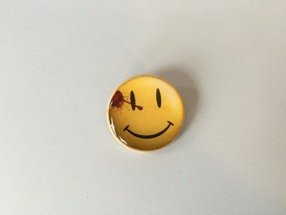Watchmen Smiley smile face pin with blood by FantasticalFunShop