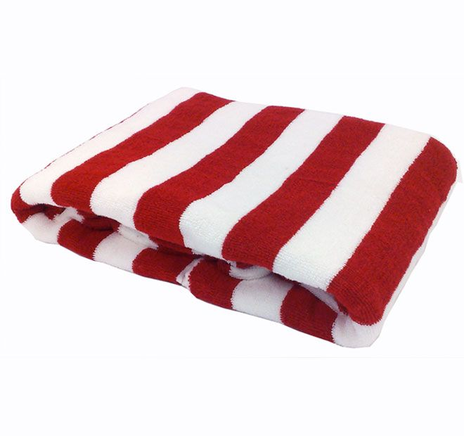 Elegant Candy Stripe Pool Towel Cherry Red