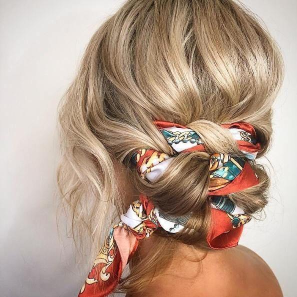 süße Frisuren || einfache Frisuren für langes Haar; geflochtenes Brötchen mit Haartuch; Hochsteckfrisur Haar Schal Frisur