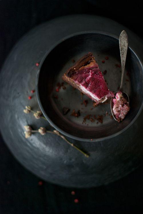 Dark chocolate Brownie with Raspberry goat cheese Swirl ...
